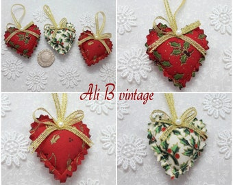 christmas decorations christmas tree decorations set of 3 red and cream holly christmas mini hearts christmas ornament heart hangers