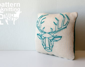 "DIY Knitting PATTERN - Origami Stag Head Stockinette Throw Pillow - 12"" Square (2016012)"