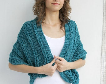 Hand Knit Teal  Blue Shawl  /  Rectangle Cable Scarf / Atumn Knitted Accessories