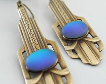 Vintage Jewelry - Art Deco Earrings - Blue Earrings -  Brass Jewelry - Chloe's Vintage Jewelry - handmade jewelry