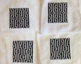 Optical ILLUSION BEACH Towel Black Embroidered in all Four Corners 100% terry velour Shower Lake Bath Ready to Ship
