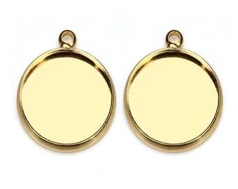 20pcs 10-20mm Gold Plated bezel Pendant trays , setting Jewelry findings