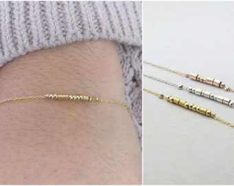 Morse Code Bracelet Bridesmaid Gift Beaded Bracelet Custom Minimal Hidden Message Best Friend Gift Gold Bracelet Sister Gift Secret Code