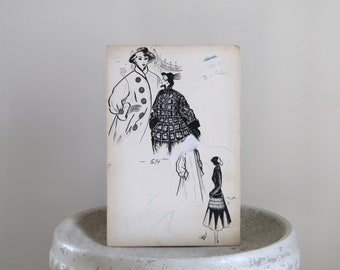 Vintage Pen and Ink Fashion Drawing  c. 1950s  10 x 15 inches
