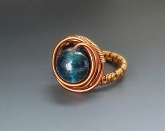 Blue cocktail ring , teal blue statement jewelry, boho statement women ring, size 8,5
