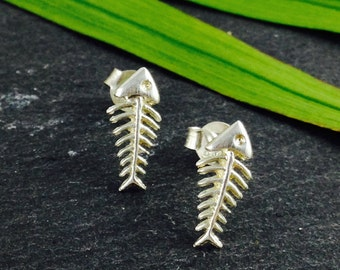 Little Fish Bone Earrings Sterling Silver, stud earrings, Fish, funny, party, new year's, woman gift, Spring Fashion, Mother's Day Gift