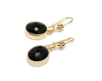 NEW! Earrings with Black Crystal jewel, emerald, boho, modern, high fashion, rocker, party, dangle, - Free shipping!