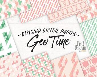 Geometric Digital Paper, Pink and Mint Digital Paper, Geo Digital Paper, Triangle Digital Paper, Abstract Geometric, Tribal Digital Paper