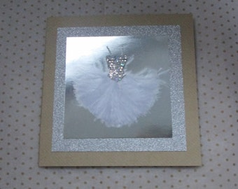 Silver Sequin and Feathered Dress Greetings Card, Handmade