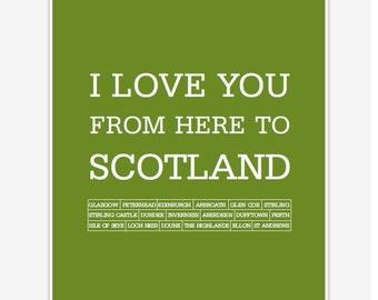 Scotland print, Scotland poster, Scotland art print, Love Scotland, Edinburgh print, travel poster