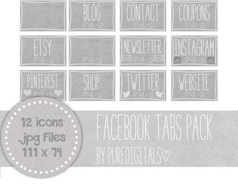 Facebook Tabs, Social Media Icons, Blog Buttons, Timeline Tab Images, Gray Facebook Tabs, Website Buttons, Facebook Icons, Grey Facebook Tab