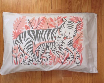 Tiger Mom and Baby pillow case in peach, coral and grey