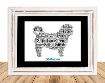 Shih-Poo, Shih-Poo Art Print, Shih-Poo Memorial, Custom, Personalize, Pet Gift, Print, Dog Art, Pet Memorial, Custom Dog, Dog Art Name