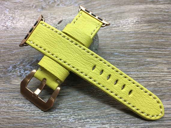 Apple Watch Strap | Apple Watch Band | Leather Watch Band | Leather Watch Strap | Lemon yellow Colour watch band For Apple Watch 38mm & 42mm