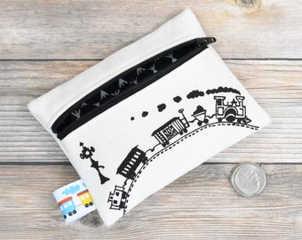 Train Wallet, Boys Birthday, Organic Wallet, Boys Wallet, Train birthday, first wallet, first coin purse, boys change purse, choo choo