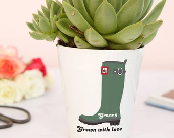 Welly boots plant pot gift for mums - decorative planter with seeds, garden gifts for women, Grandma gift, gardening gift set for mum