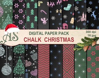 Digital Chalk Christmas Paper Pack, 16 printable Digital Scrapbooking papers, Digital Collage, chalkboard clipart, Instant Download, set 215