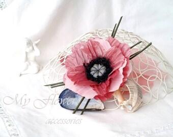 Poppy brooch Corsage flower Flower hir clip Pink flower Mauve brooch Bridal hair piece Flower fascinator Pastel pink Boho hairpiece, Gift