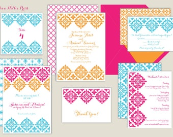 Colorful Spanish Tiles Wedding Invitation - Fiesta, Mexican, Latin, Hispanic, Fun