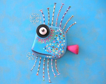 Blue Guppy, MADE to ORDER, Original Found Object Wall Sculpture, Wood Carving, Fish Sculpture, Wall Decor, by Fig Jam Studio