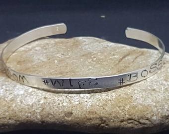 Handmade silver stamped cuff bracelet