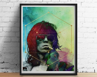 COSMIC KEITH Richards Print, Sacred Geometry Print, Gold Foil Galaxy, Rocker Hipster Wall Art Dorm Decor Boho 1970s Keith Richards Poster