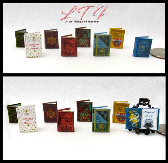 1:24 Scale 1st YEAR WIZARD STUDENTS Textbooks Miniature Dollhouse Illustrated Readable Magic Wizard Witch Popular Boy Potter 1/2 Scale