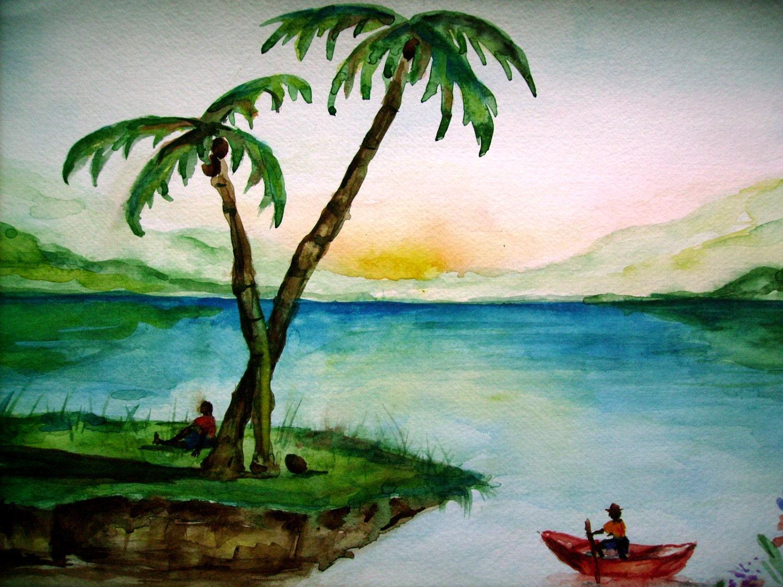 Palm Island II Palm Trees Island Painting 11x15 Original