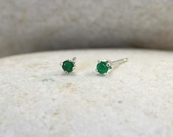 Tiny Emerald Earrings with Sterling Silver or 14K Posts, second hole green stud earrings
