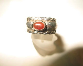 S 09.4g Vintage Handmade 925 SILVER RING with GOLD