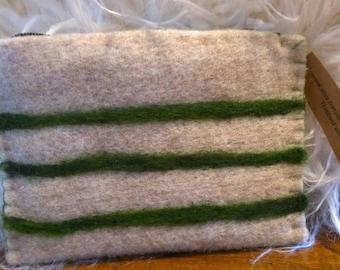 Wool zippered pouch/change purse