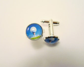 GOLF BALL on TEE Silver Cuff Links -- Sporty golf cuff links, For lady and gentlemen golfers