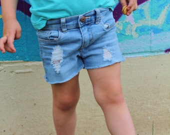 Bella shorties, baby denim cutoffs, girl shorts, baby shorts, shorts for girls, distressed shorts, distressed denim shorts, denim shorts