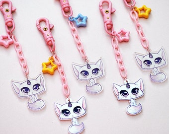kawaii pastel pink unicorn cat key chain: 90's toy pink clip fairy kei spank keychain with acrylic charm - gift for girls - gift under 10