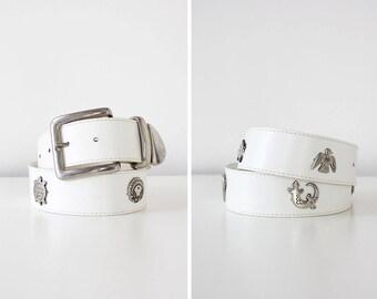 Vintage Leather Belt • Silver Medallion Belt • White Leather Belt • Southwestern Belt • 80s Belt • Vintage Leather Belt   BT357