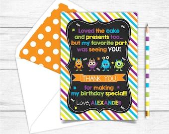 Printable Chalkboard Monsters Birthday Thank you Card,Birthday Monsters Thank you card, Printable Thank you Card, Monsters Birthday Cards