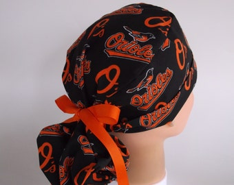 Baltimore Orioles Ponytail - Womens lined surgical scrub cap, scrub hat, Nurse surgical cap, F-900b