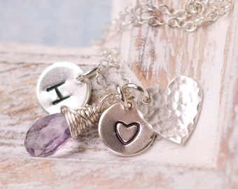 Mother's Necklace, Personalized Necklace, Charm Necklace, Mommy Necklace, Initial Necklace,Wire Wrapped, Hand Stamped Necklace, Heart Charm