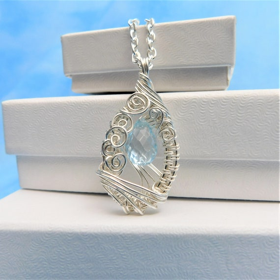 Blue Topaz Necklace Mother in Law Gift Gemstone Pendant December Birthstone Artisan Crafted Unique Wire Wrap Present Ideas for Mother's Day