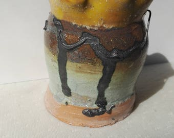 sunset inspired ceramic pot with cpper wire detail