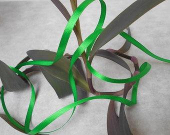 Green satin ribbon - 6mm - 22 meters roll