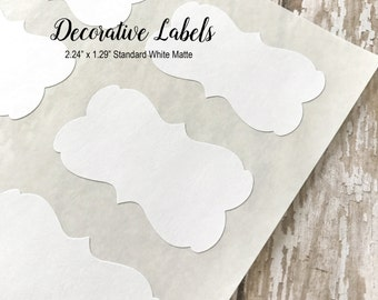 """White Decorative Stickers, Blank Stickers, Labels, DIY Stickers - 2.24"""" x 1.29""""  (72 Stickers)"""