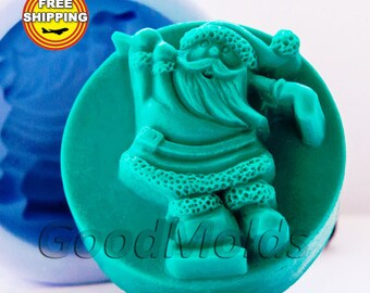 Santa 3 soap mold silicone molds mold for soap mold christmas mold silicone mold new year mold free shipping