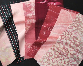 Vintage kimono silk fabrics 8 pcs #7511