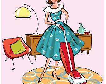"PRINT -  ""Vacuuming"", hostess gift, wall decor, housewarming gift, dining room art, whimsical print, house warming gift, wall art print"