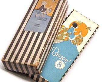 Vintage Bridge Art Deco Tally Score Pads in Box c1920