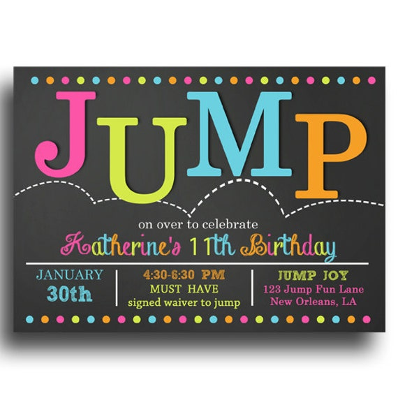 Jump Invitation Printable Jump Bounce Trampoline Birthday