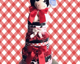 Red, White and Moo Cow Baby Shower Diaper Cake