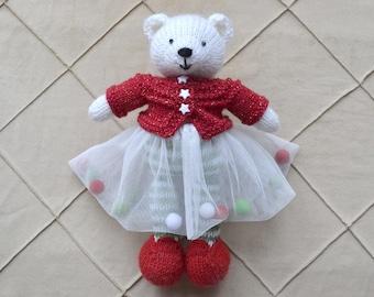 Hand Knit Bear Ballerina Tutu Knitted Bear Toy Cute Stuffed Animal Soft Bear Girl Knit Doll Polar Bear New Year's Toy Gift