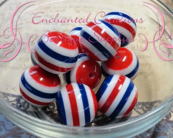20mm Patriotic Red, White and Blue Striped Beads Qty 10